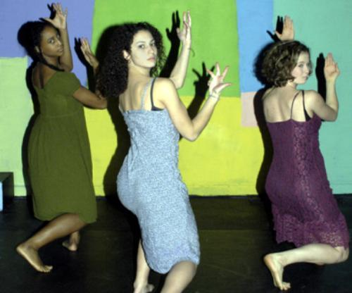 Dancers move to Brazilian beats in The House that Ansiedade Built last weekend. The production, written and directed  by Shelby J. Braxton-Brooks '03, was the culmination  of her senior thesis work.