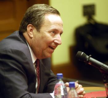 University President LAWRENCE H. SUMMERS answers questions from law school students yesterday.