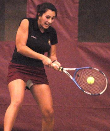 Sophomore ALEXIS MARTIRE won both her doubles and singles matches as the No. 26 Harvard women's tennis team beat Boston College 5-2 at the Murr Center on Saturday.