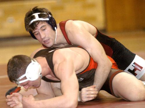 Junior JESSE JANTZEN, shown against Brown, lost in the NCAA semifinals for the second straight year, but beat Jerrod Sanders of Oklahoma State to place third.