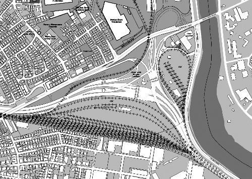 Harvard recently bid $75 million for this triangle-shaped parcel of land in South Allston, currently owned by the Massachusetts Turnpike Authority..  But the property is severely encumbered by CSX railways and easements.