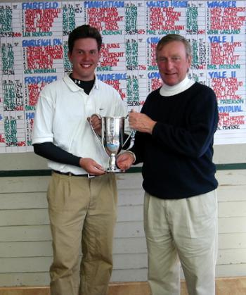 Junior ANDREW KLEIN (L) accepts his trophy after he placed first individually at the Yale Invitational while the Harvard men's golf team finished fifth.