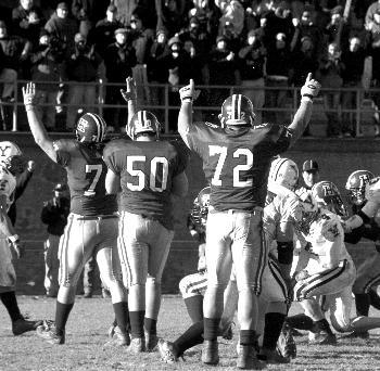 Senior offensive tackle JAMIL SORIANO (72), seen here celebrating a touchdown in The Game last fall, had less to celebrate yesterday as he went undrafted by any NFL team.