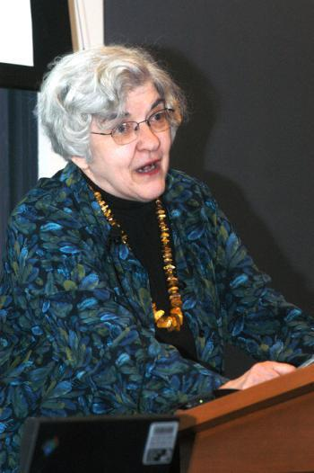 PATRICIA K. GRIMSTEAD, a senior research associate at the Harvard Ukrainian Institute, discusses the etheical and legal complications surrounding the restituation of Nazi-era art in Langdell Hall yesterday.