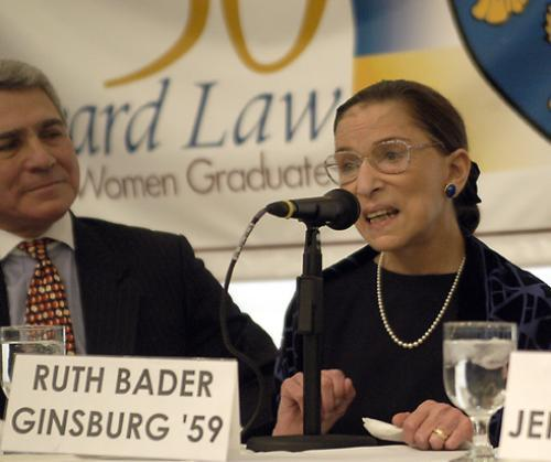 Harvard Law School graduate and Supreme Court Justice RUTH BADER GINSBURG speaks at a celebration Saturday.