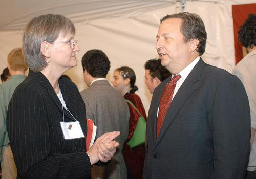 Radcliffe Dean at the time Drew Faust speaks with then President Lawrence Summers during Radcliffe's Strawberry Tea.