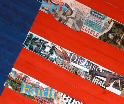 Two Summerbridge students prepared a collage portraying the pros and cons of American life for the program's daily community meeting.