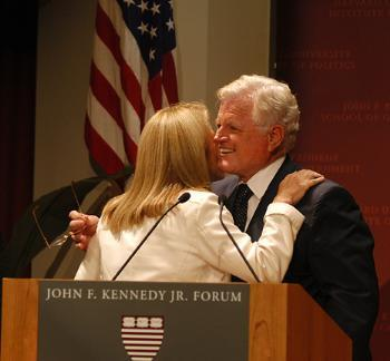 Caroline B. Kennedy '80 hugs her uncle, U.S. Sen. Ted Kennedy '54-'56, at a 2003 event naming the IOP's forum after John F. Kennedy Jr., who died in 1999.