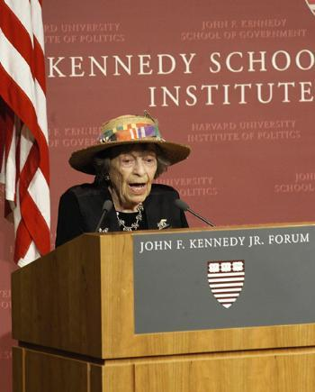 "DORIS ""GRANNY D"" HADDOCK, who trekked across the United States in support of campaign finance reform, speaks at the JFK Jr. Forum yesterday."
