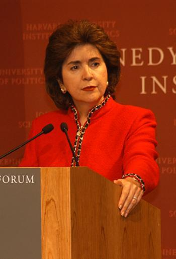 SILA M. CALDERON talks at the John F. Kennedy Jr. Forum Friday, explaining why greater Puerto Rican autonomy would spur development.