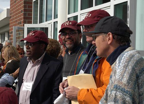 From left to right, TIM C. MAGUIRE '73, ROGER W. FERGUSON '73 and FRED V. BOYD '73 gather outside the Murr Center to watch the Harvard-Lafayette football game during their 30th reunion this weekend.