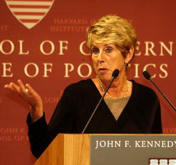Gun control advocate SARAH BRADY shared war stories about her nearly two decades of fighting for stricter gun laws at the Institute of Politcs' John F. Kennedy Jr. Forum yesterday.