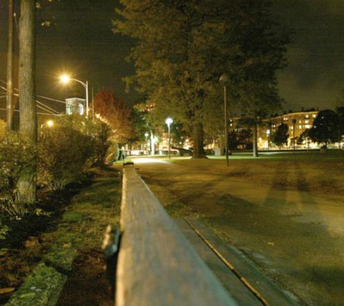 A view of Cambridge Common at night illustrates the park's empty and dark environment, conditions similar to those three nights ago when a student was assaulted as she was walking through the area.