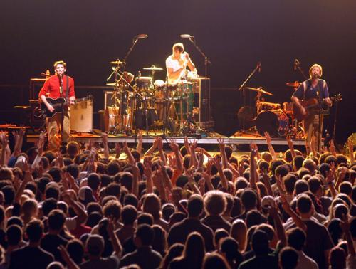 Guster performs for Harvard students last night at the Gordon Track and Field Center.