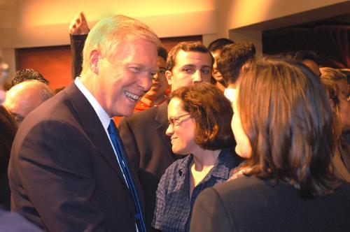 """Democratic presidential hopeful Richard A. Gephardt greets audience members after his taping of """"Hardball"""" at the John F. Kennedy Jr. Forum in the Kennedy School yesterday."""