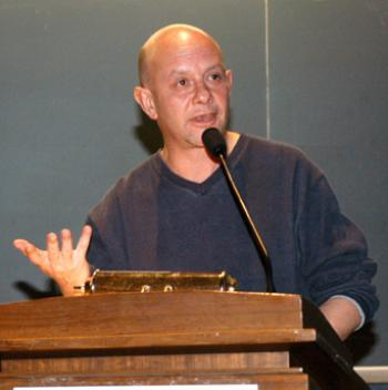 Author NICK HORNBY speaks last night at the Science Center as part of Zadie Smith's Writers' Season workshop series.