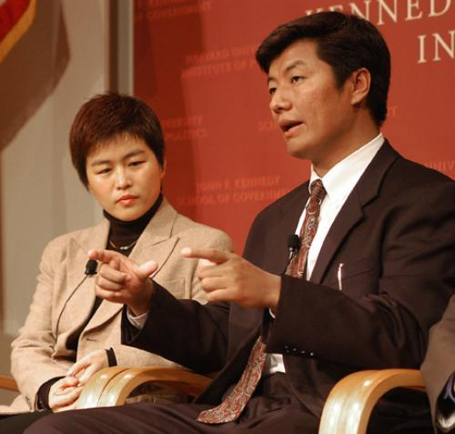 XIAOJIANG HU, left, a lecturer in sociology, and LOBSANG SANGAY, a Fulbright Scholar at Harvard Law School discuss Tibet at a panel hosted by Radio Free Asia Friday.