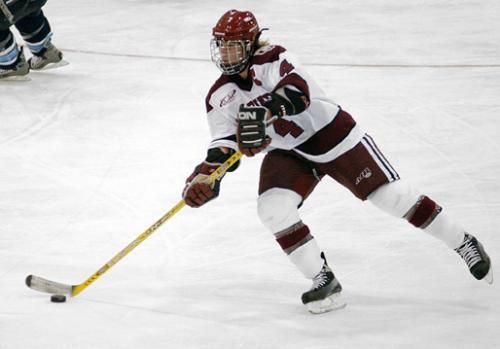 Senior defensewoman ANGELA RUGGIERO (4) scored the game-winning goal in No. 3 Harvard's 2-1 win over No. 8 New Hampshire.