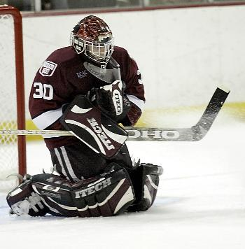 Junior goaltender DOV GRUMET-MORRIS was solid at the back last night against BC, but two goals off passes from behind the net proved insurmountable in the 3-2 loss.