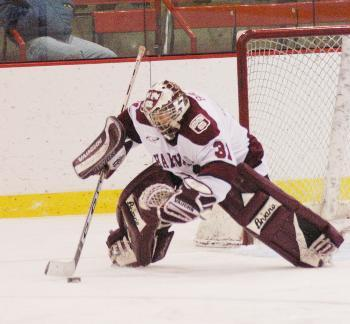 Sophomore goaltender Ali Boe has firmly established herself as the top goaltender on the Crimson after recording 59 saves in two games this weekend against Minn.-Duluth.