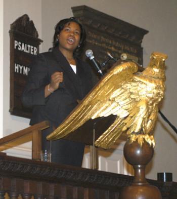 "Jennifer N. Hawkins '04 reads Martin Luther King Jr.'s ""I Have a Dream"" speech Monday."