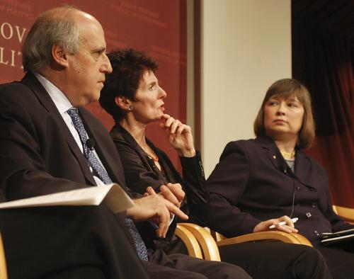 Pro-choice advocate Kate Michelman (center) speaks at the IOP debate while IOP Director Daniel R. Glickman (left) and pro-life speaker Carol Tobias (right) look on.