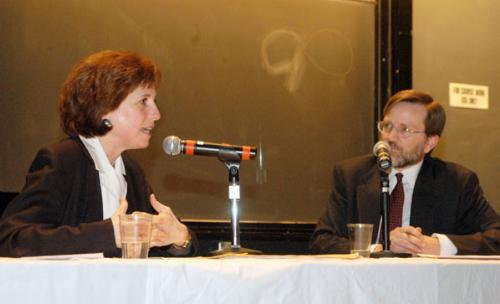 Arline Isaacson, co-chair of the Massachusetts Gay and Lesbian Political Caucus, left, debates the Rev. John Rankin, president of the Theological Education Institute and Harvard Divinity School graduate, on gay marriage on Saturday night