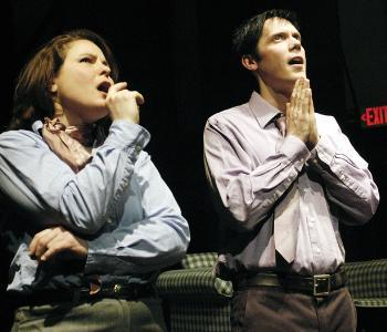 B (Ron Rittinger) and C (Lara Krepps) in the Industrial Theatre's Back Room.