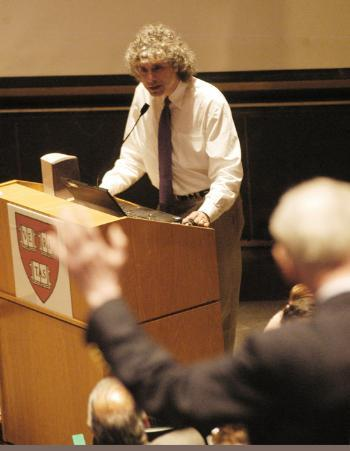 Johnstone Family Professor of Psychology Steven Pinker disputes an evolutionary view of religion at the Science Center yesterday.