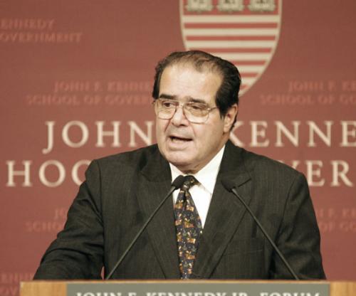 Supreme Court Justice and Harvard Law School Graduate Antonin Scalia speaks at the John F. Kennedy  Jr. Forum yesterday evening.