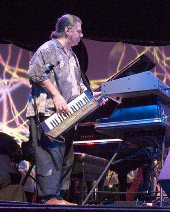 Chick Corea weilds his signature KX5 synth in concert last Sunday evening.