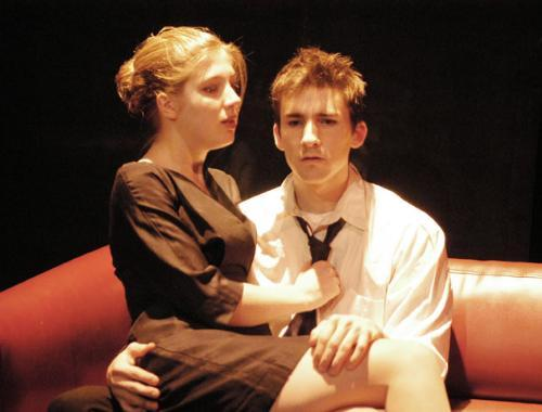 Sarah E. Curtis '05 as the mistress Ceasonia fraternizes with Jess R. Burkle '05 as Caligula in Albert Camus' Caligula at the Loeb Ex Theater.