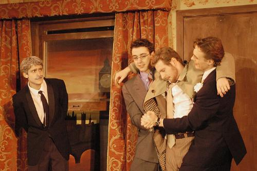 Alex N. Chase-Levenson '08, Calum Docherty '07, S. Patrick Abell '07 and W. Hugh Malone '08 perform in Whose Wife is it Anyway? in Winthrop House.