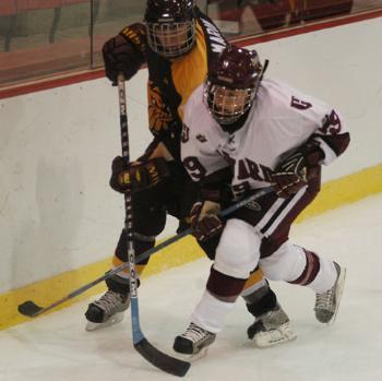 Tri-captain winger Nicole Corriero, shown in earlier action, contributed the No. 6 Crimson's lone goal on Saturday, scoring in her 10th straight game and adding to her team-leading 22 tallies on the season. Harvard has nevertheless struggled recentl
