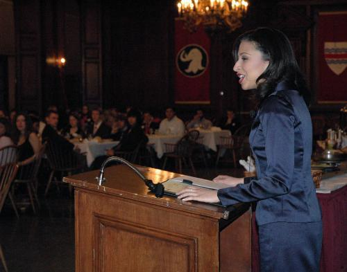 2003 Miss America Erika N. Harold spoke to the Harvard Republican Club Friday night in Eliot Dining Hall at the 3rd annual Lincoln Day Dinner.