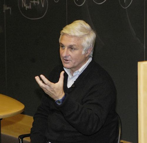Roberto Canessa speaks yesterday at Boylston Hall. He recounted his tale of being stranded in the Andes for 72 days after surviving a plane crash.