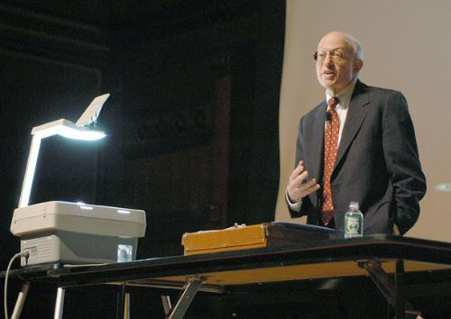 Professor of Economics Martin S. Feldstein '61 answers student-submitted questions during his last Ec10 lecture in May 2005.