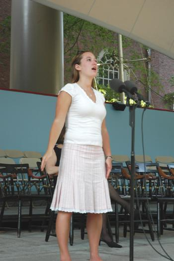 A lifelong performer, Gillespie practices her speech on the main stage in Tercentenary Theater.