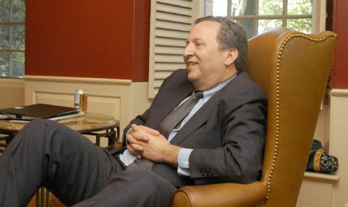 University President Lawrence H. Summers sits back for a lighter moment during an interview with the Crimson in June.  In his resignation letter, Harper criticized Summers for past comments on women and minorities.