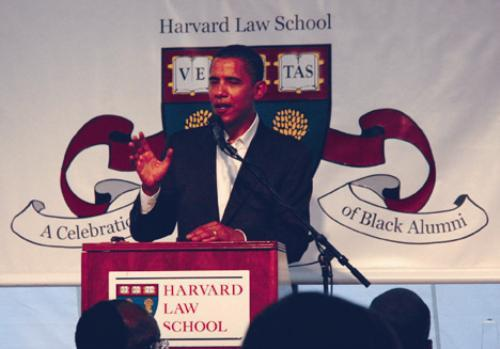 """A humorous Sen. Barack H. Obama (D-IL) speaks at """"A Celebration of Black Alumni"""" at Harvard Law School on Saturday about the political climate and the hurricane aftermath."""