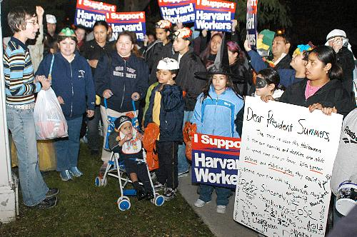 Members of the Student Labor Action Movement (SLAM) and children of Harvard workers trick or treat outside University President Lawrence H. Summers' house, Elmwood, yesterday.