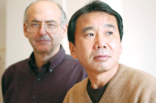 Author Haruki Murakami and his long-time literary translator Jay Rubin pose for a pre-interview photo at the Reischauer Institute.