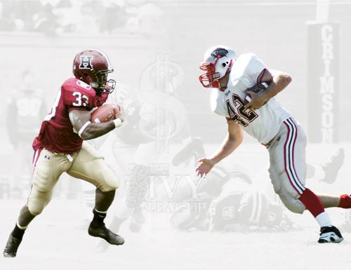 Brown tailback Nick Hartigan, right, has been profiled in USA Today and the New York Times for his Rhodes Scholar candidacy as well as his league-leading rushing yardage. Harvard junior running back Clifton Dawson, opposite, may undergo similar scrutin