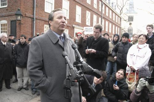 University President Lawrence H. Summers addresses a crowd outside Mass. Hall following his resignation Tuesday. Professors had raised concerns about a suit involving his friend, Jones Professor of Economics Andrei Shleifer '82.