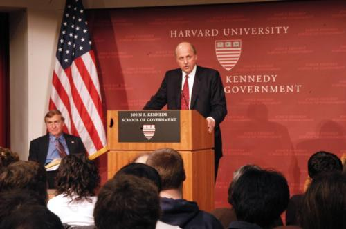 Director of National Intelligence John Negroponte discussed global security challenges at the Institute of Politics on Friday afternoon.