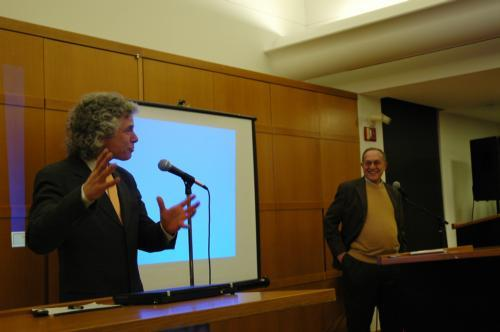 Psychology professor Steven Pinker extolled the virtues of the traditional latke last night during a debate with HLS Professor Alan M. Dershowitz.