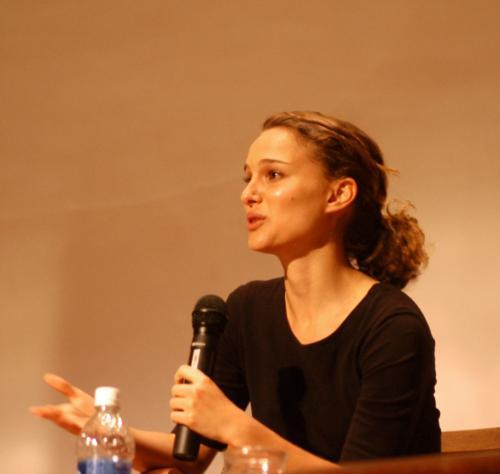 Natalie Portman '03 speaks yesterday at Harvard Business School.