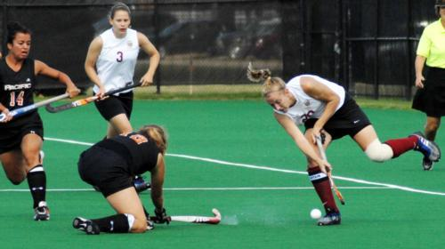 Senior co-captain Devon Shapiro, shown here in earlier action, tallied the Crimson's lone goal against Columbia in the season finale on Saturday. Shapiro finished tied for first on the team in points with freshman Maggie McVeigh, tallying five goals and f