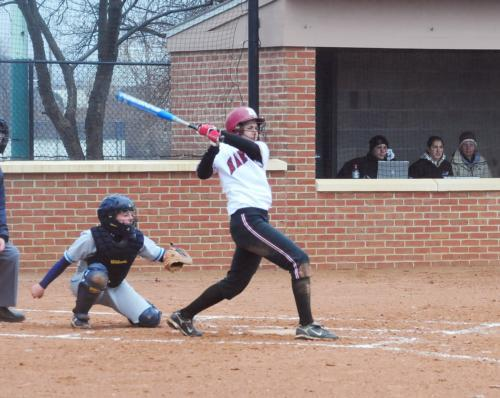 Sophomore Jennifer Francis, shown here in earlier action, played a key role in Harvard's offensive attack at Yale, homering twice on Saturday. Classmate Lauren Murphy also had a red-hot weekend, going 9-for-13 with two homers and six RBI. The Crimson rema