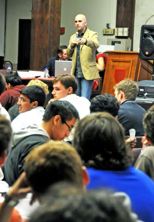 "David Irvine, co-founder of the Blackjack Institute, conducts a blackjack tutorial in Quincy dining hall last night entitled ""Risky Business."" Irvine and his fellow MIT classmates' success against casinos was featured in the Hollywood movie ""21"" and the N"